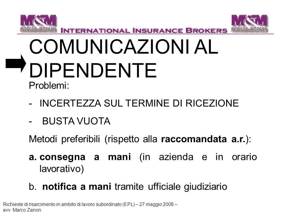 COMUNICAZIONI AL DIPENDENTE