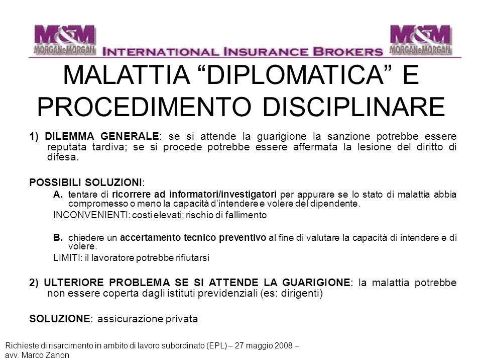 MALATTIA DIPLOMATICA E PROCEDIMENTO DISCIPLINARE