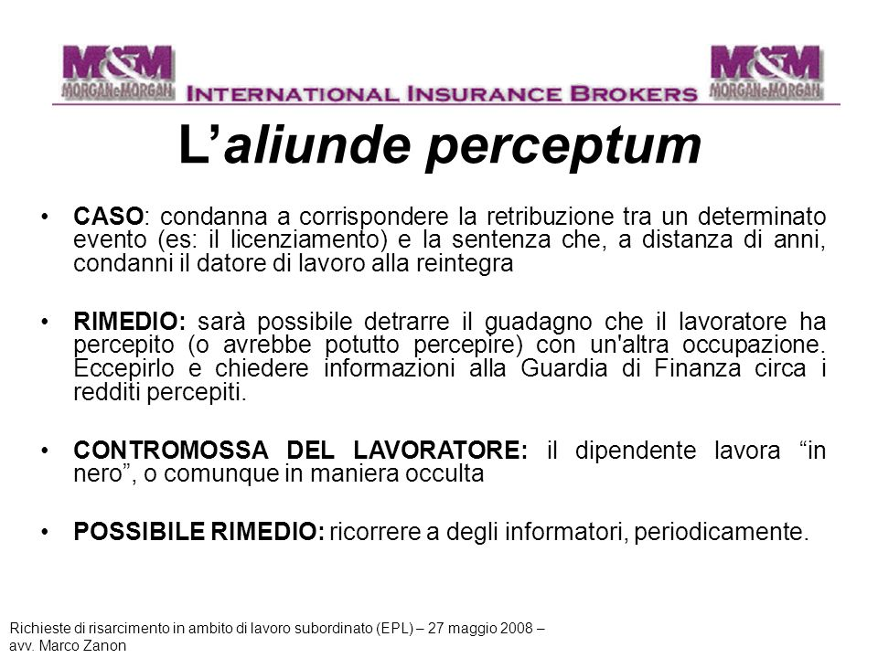 L'aliunde perceptum
