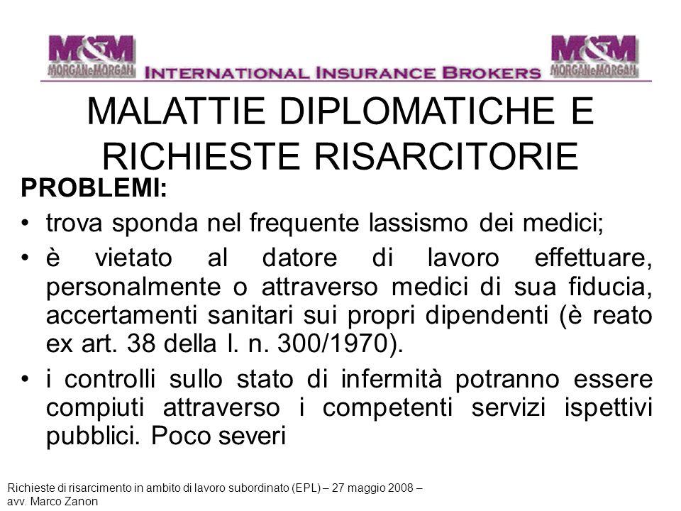 MALATTIE DIPLOMATICHE E RICHIESTE RISARCITORIE