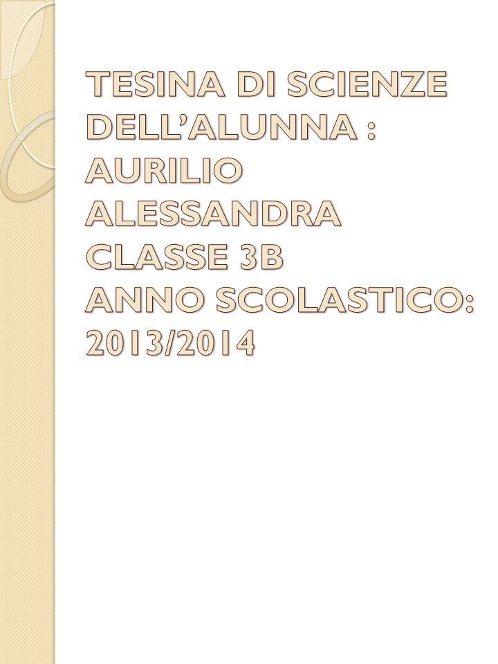 TESINA DI SCIENZE DELL'ALUNNA : AURILIO ALESSANDRA CLASSE 3B ANNO SCOLASTICO: 2013/2014