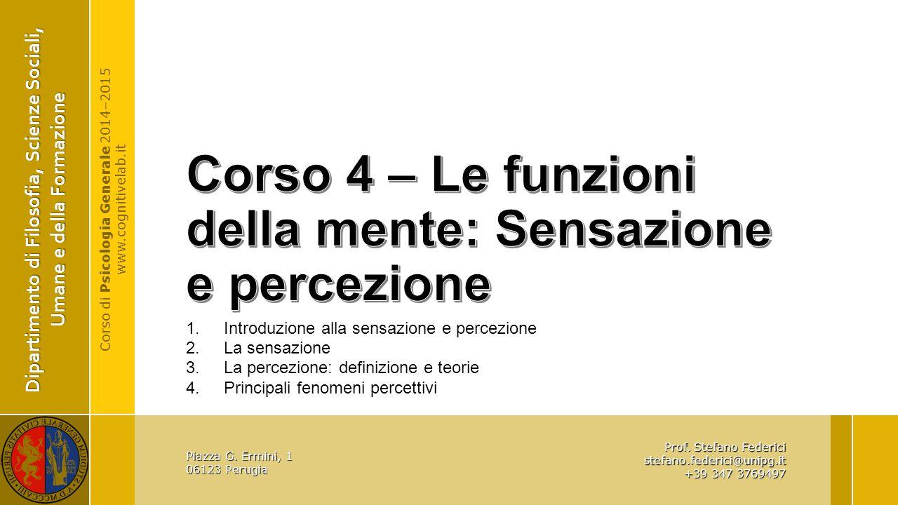 Corso 4 – Le funzioni della mente: Sensazione e percezione