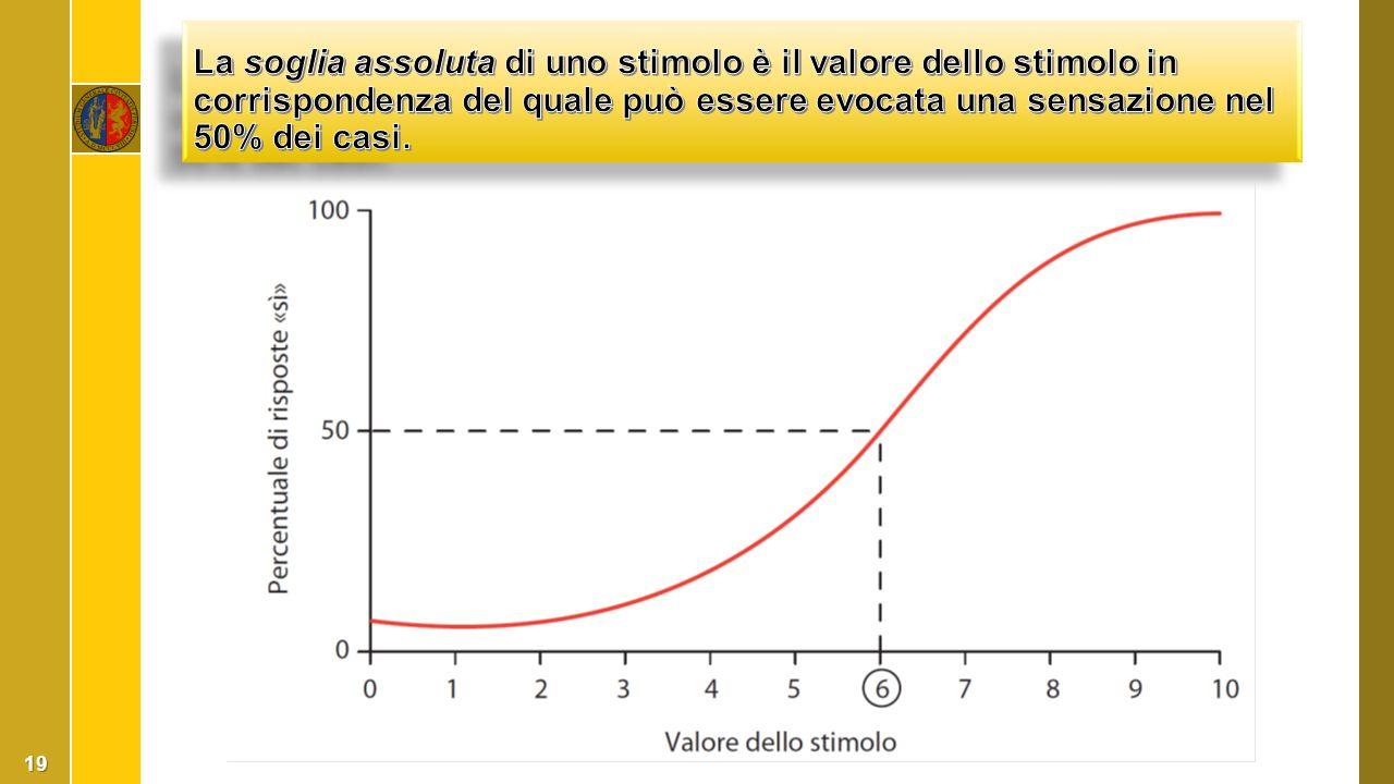 La soglia assoluta di uno stimolo è il valore dello stimolo in corrispondenza del quale può essere evocata una sensazione nel 50% dei casi.