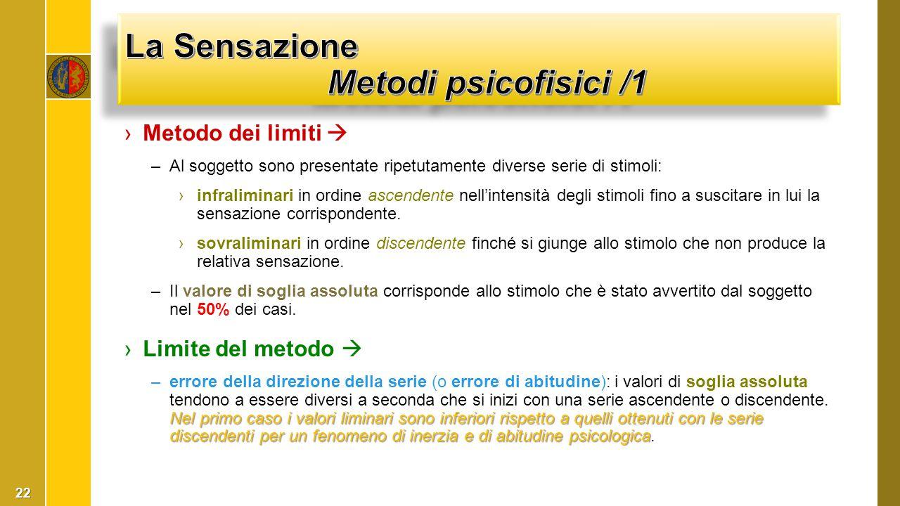 La Sensazione Metodi psicofisici /1