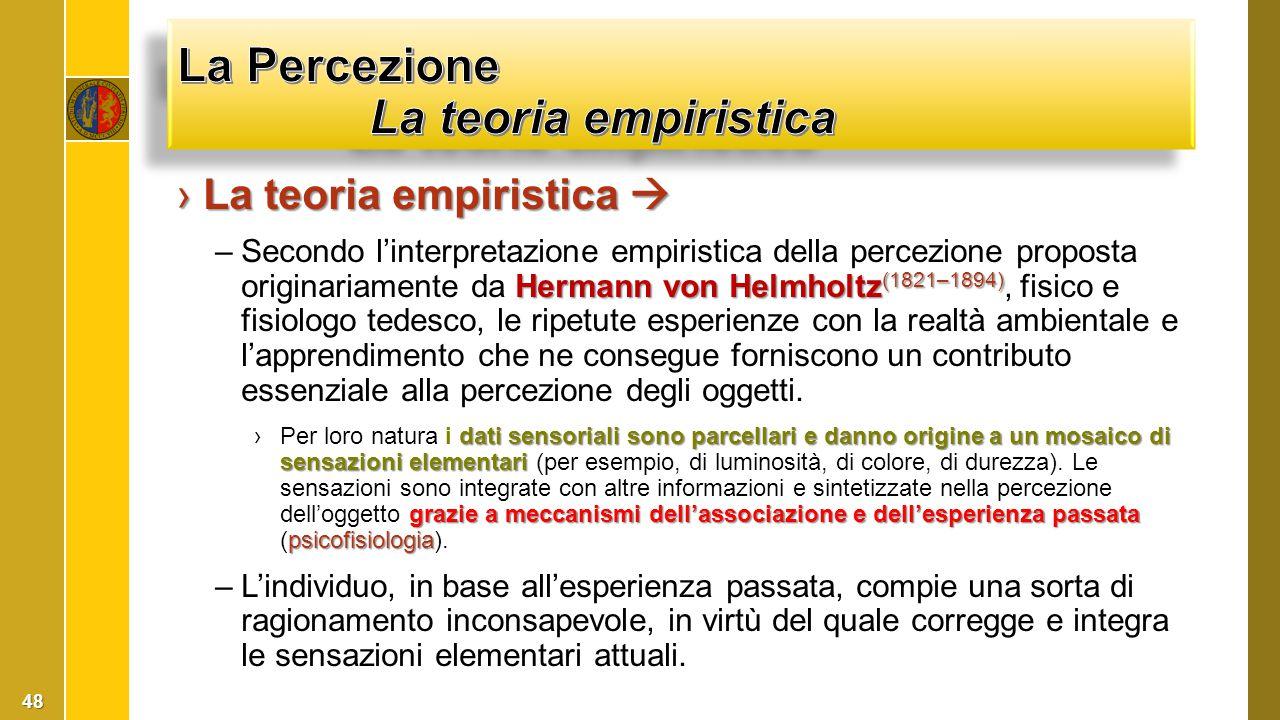 La Percezione La teoria empiristica