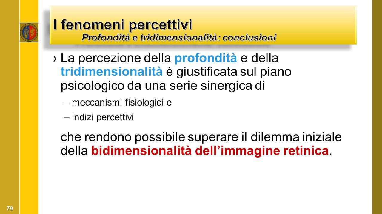 I fenomeni percettivi Profondità e tridimensionalità: conclusioni