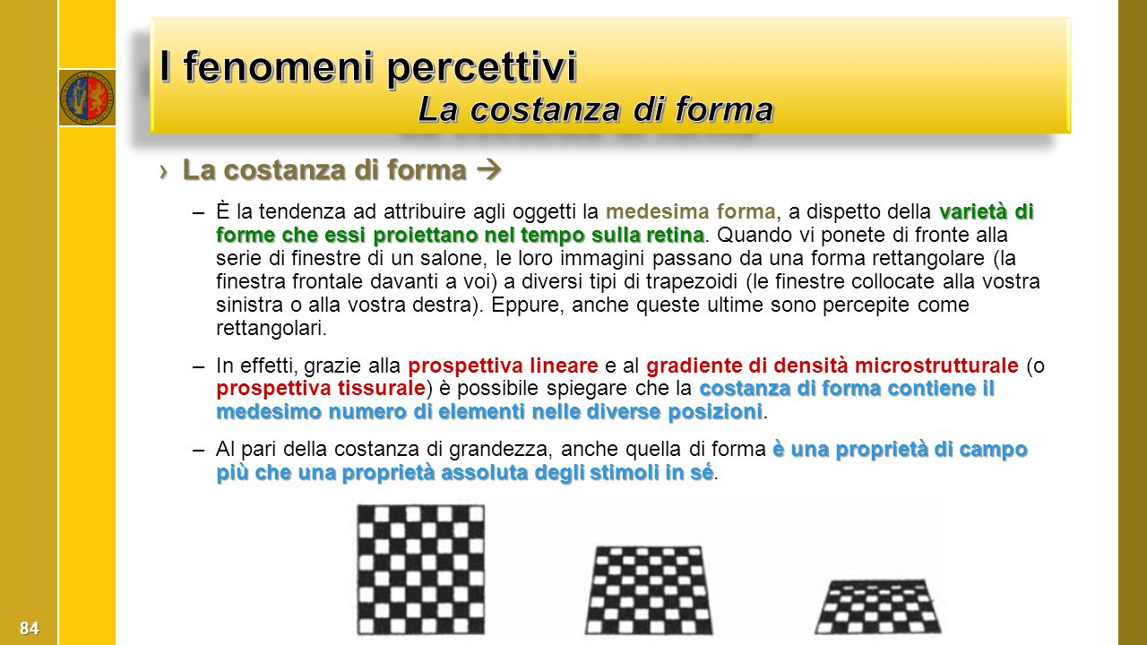 I fenomeni percettivi La costanza di forma