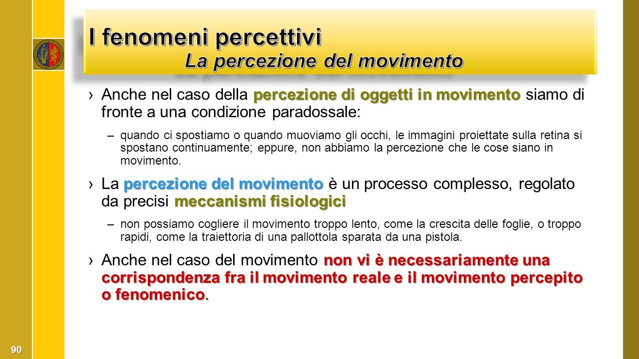 I fenomeni percettivi La percezione del movimento