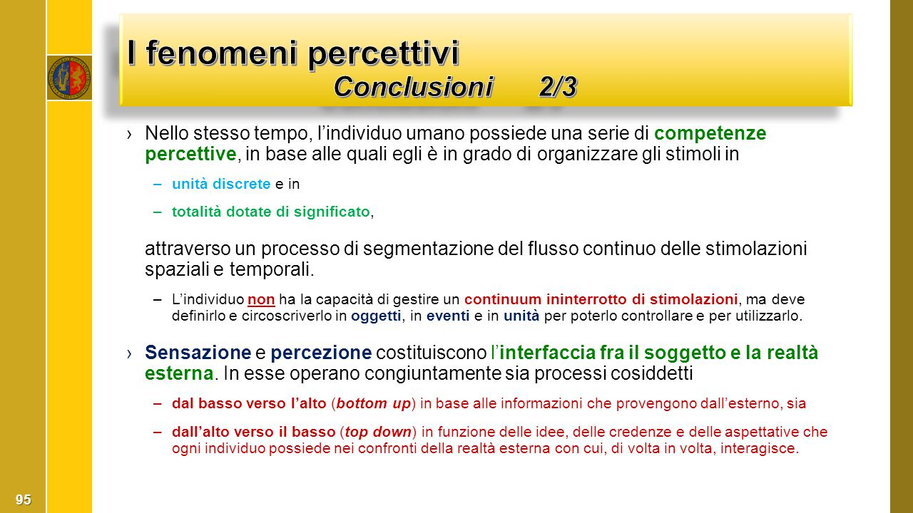 I fenomeni percettivi Conclusioni 2/3
