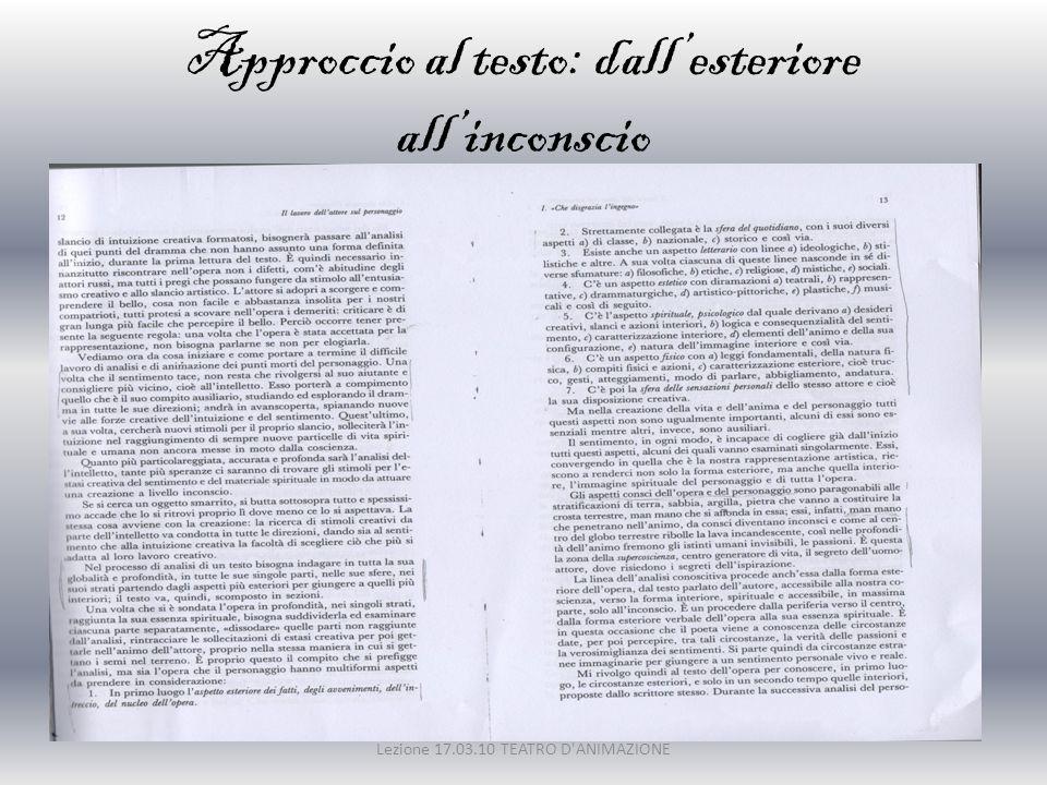 Approccio al testo: dall'esteriore all'inconscio