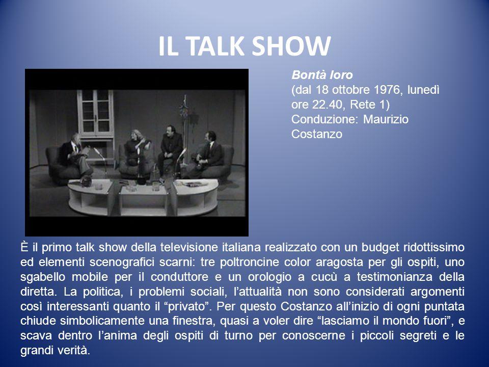 IL TALK SHOW Bontà loro. (dal 18 ottobre 1976, lunedì ore 22.40, Rete 1) Conduzione: Maurizio Costanzo.