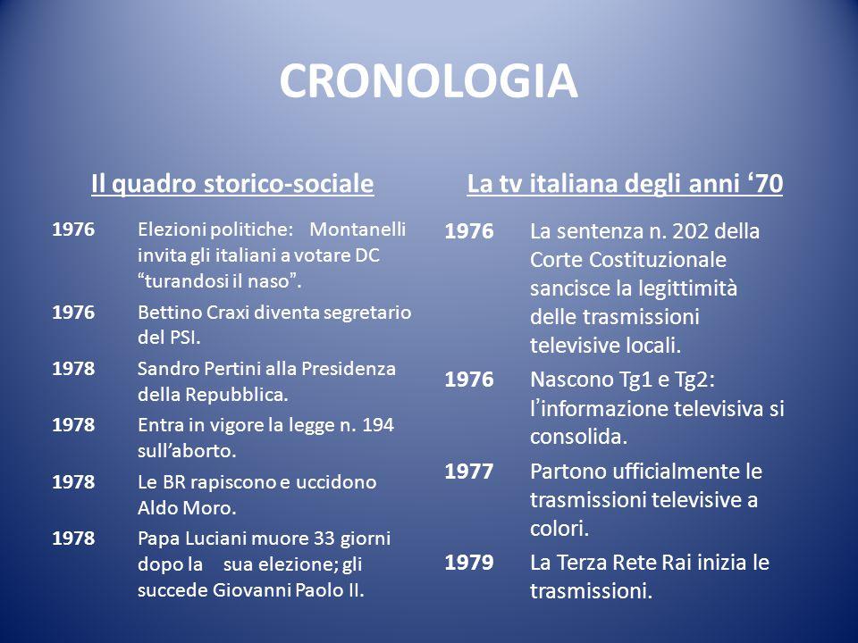 Il quadro storico-sociale La tv italiana degli anni '70