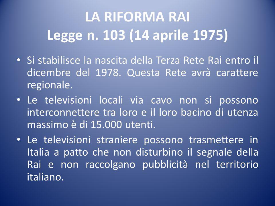 LA RIFORMA RAI Legge n. 103 (14 aprile 1975)