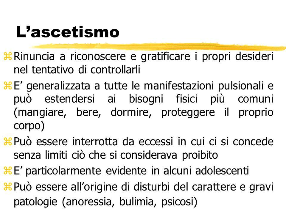 L'ascetismo Rinuncia a riconoscere e gratificare i propri desideri nel tentativo di controllarli.