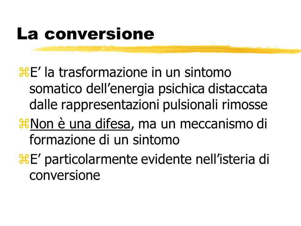 La conversione E' la trasformazione in un sintomo somatico dell'energia psichica distaccata dalle rappresentazioni pulsionali rimosse.