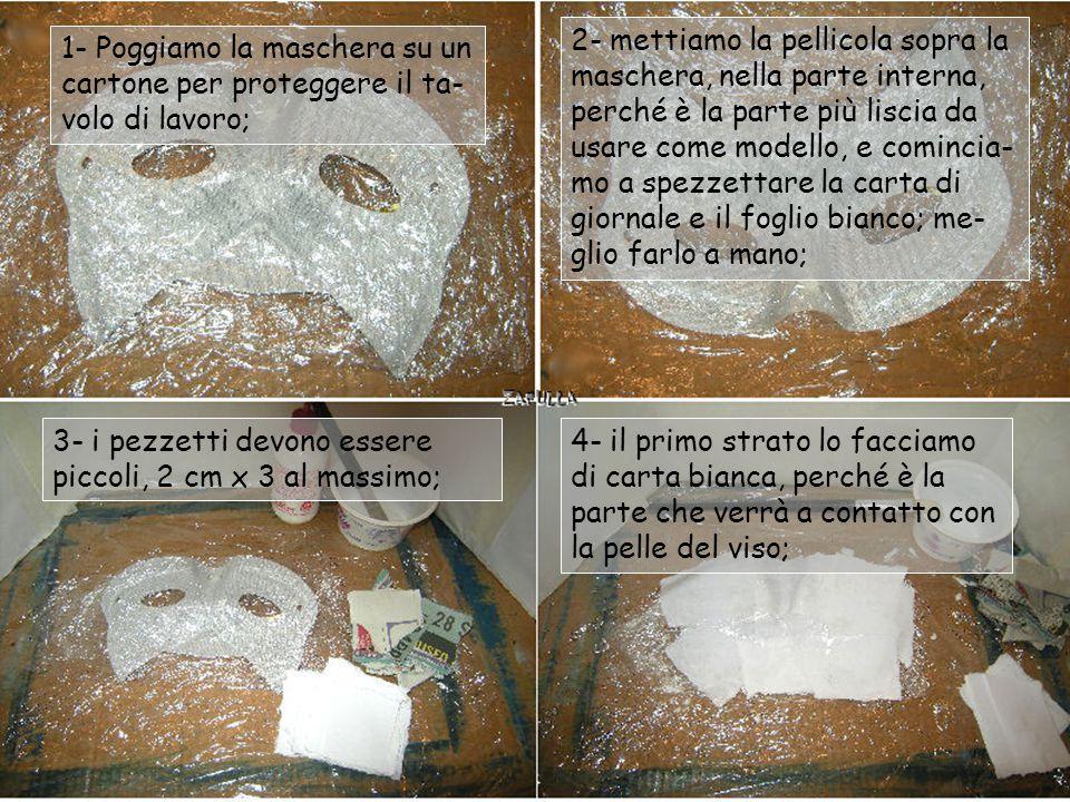 2- mettiamo la pellicola sopra la maschera, nella parte interna, perché è la parte più liscia da usare come modello, e comincia-mo a spezzettare la carta di giornale e il foglio bianco; me-glio farlo a mano;