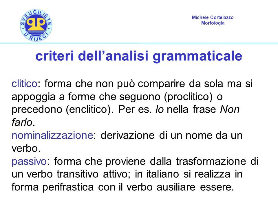 criteri dell'analisi grammaticale