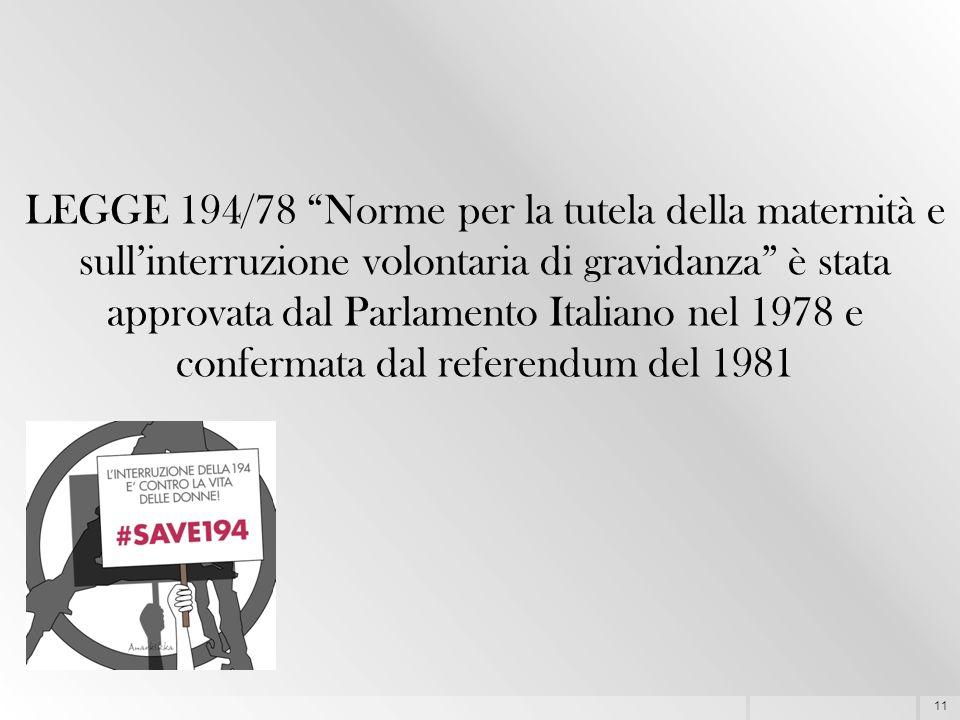 LEGGE 194/78 Norme per la tutela della maternità e sull'interruzione volontaria di gravidanza è stata approvata dal Parlamento Italiano nel 1978 e confermata dal referendum del 1981