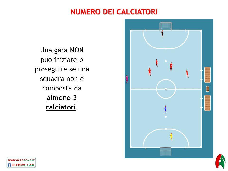 NUMERO DEI CALCIATORI Una gara NON può iniziare o proseguire se una squadra non è composta da almeno 3 calciatori.