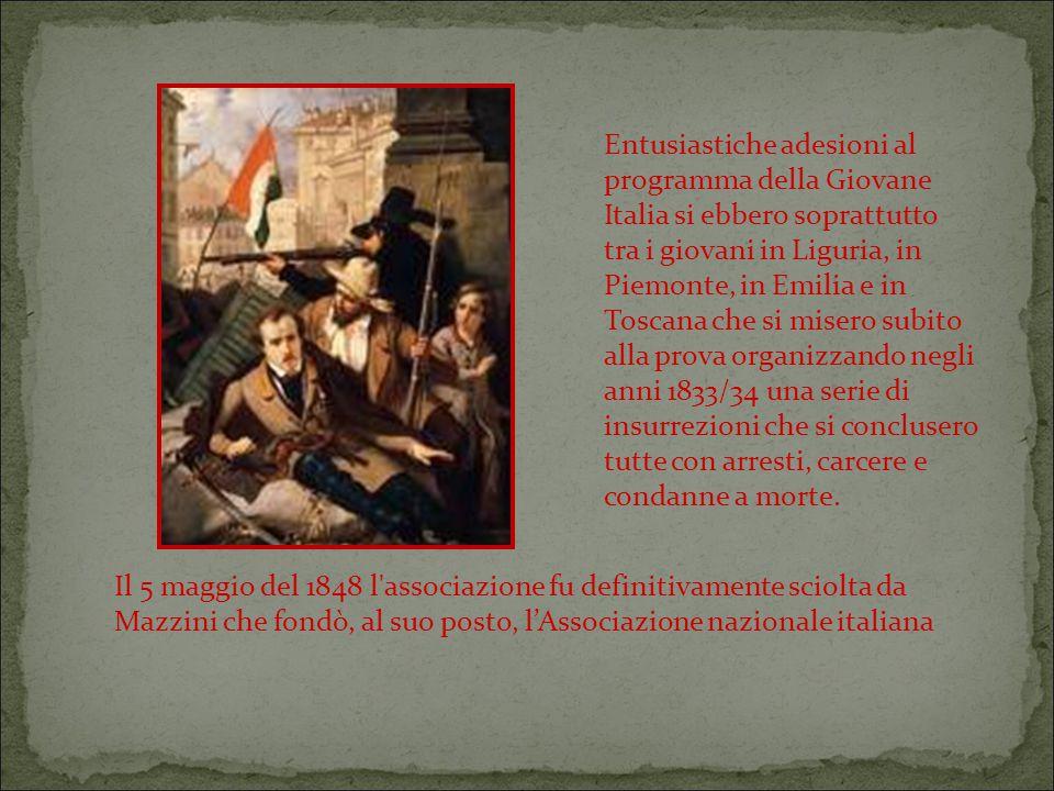 Entusiastiche adesioni al programma della Giovane Italia si ebbero soprattutto