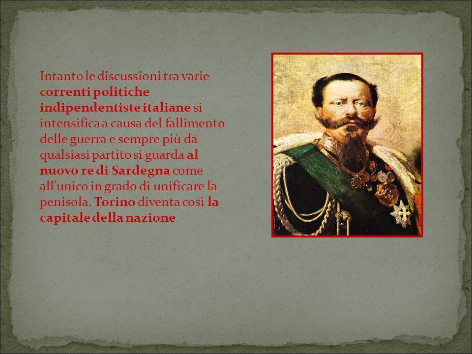 Intanto le discussioni tra varie correnti politiche indipendentiste italiane si intensifica a causa del fallimento delle guerra e sempre più da qualsiasi partito si guarda al nuovo re di Sardegna come all'unico in grado di unificare la penisola.