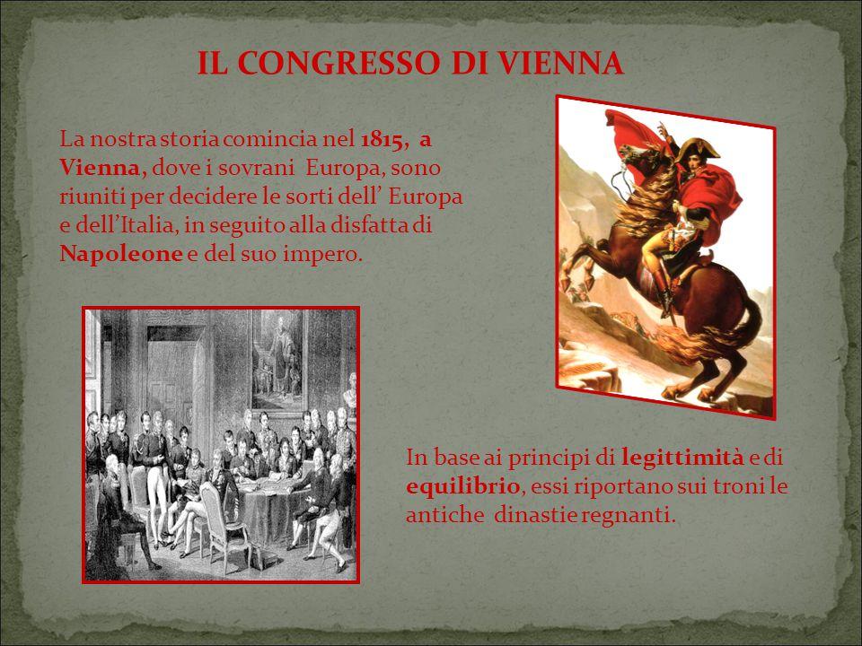 IL CONGRESSO DI VIENNA La nostra storia comincia nel 1815, a Vienna, dove i sovrani Europa, sono riuniti per decidere le sorti dell' Europa.