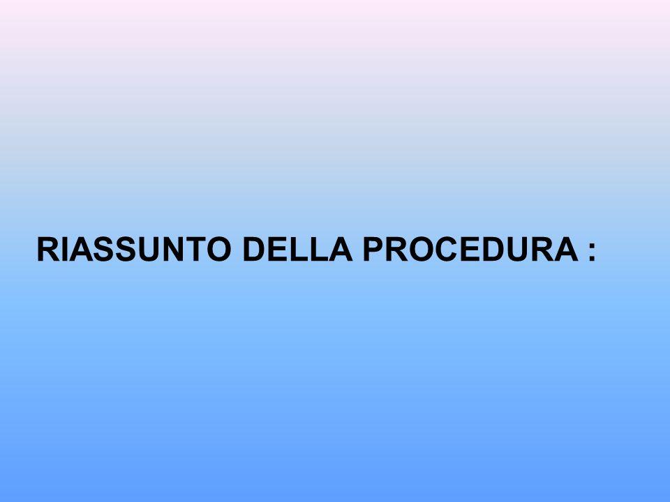 RIASSUNTO DELLA PROCEDURA :