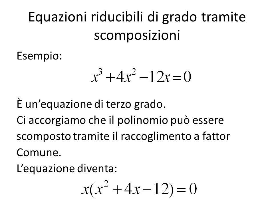 Equazioni riducibili di grado tramite scomposizioni