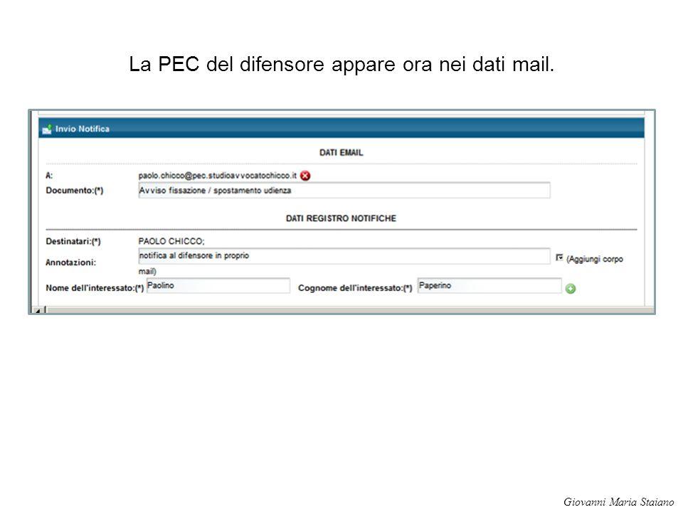 La PEC del difensore appare ora nei dati mail.
