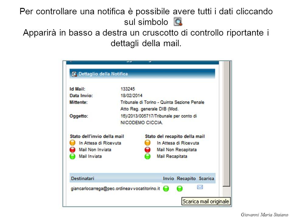 Per controllare una notifica è possibile avere tutti i dati cliccando sul simbolo Apparirà in basso a destra un cruscotto di controllo riportante i dettagli della mail.