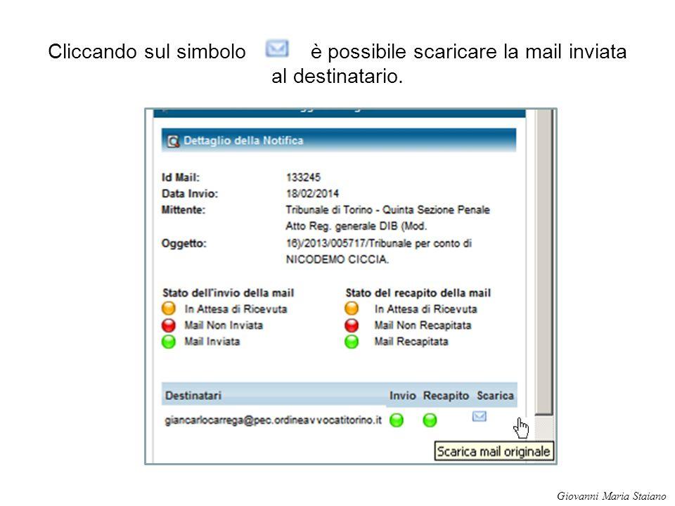Cliccando sul simbolo è possibile scaricare la mail inviata al destinatario.