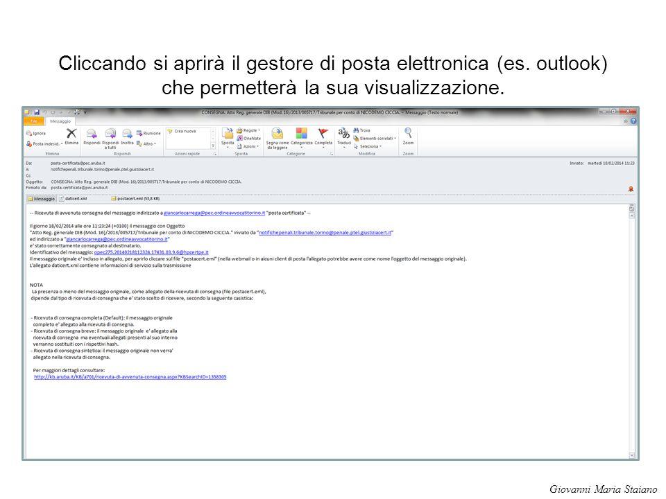Cliccando si aprirà il gestore di posta elettronica (es
