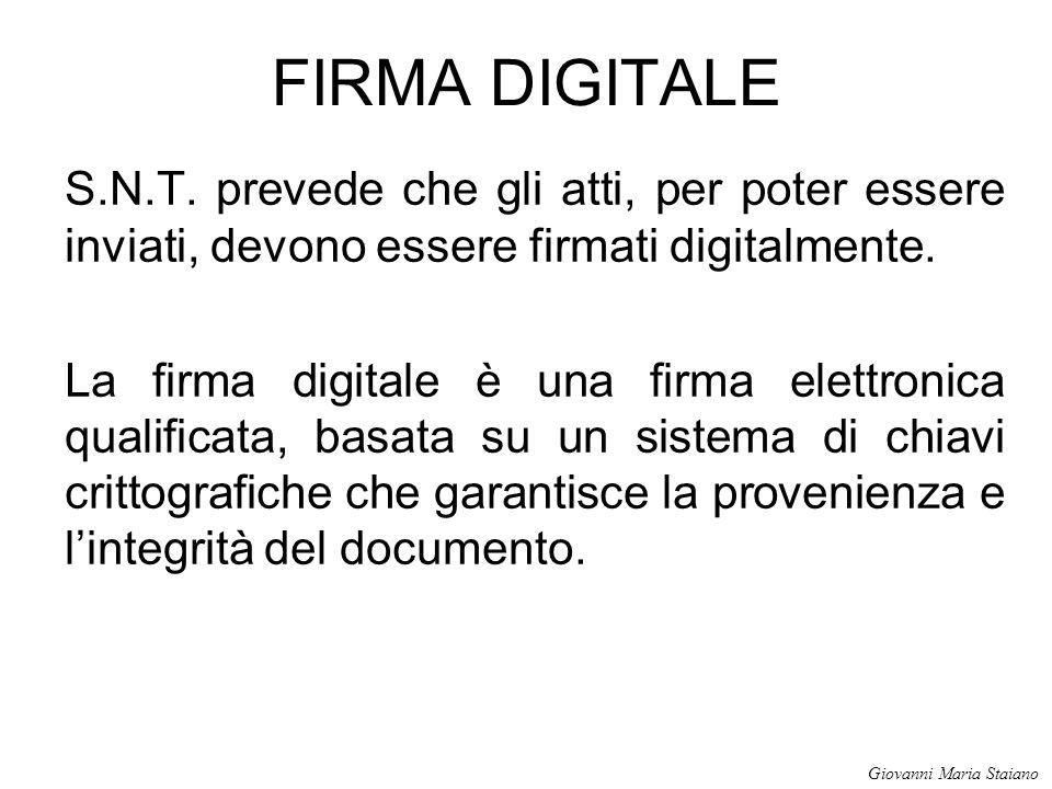 FIRMA DIGITALE S.N.T. prevede che gli atti, per poter essere inviati, devono essere firmati digitalmente.