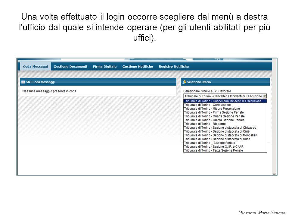 Una volta effettuato il login occorre scegliere dal menù a destra l'ufficio dal quale si intende operare (per gli utenti abilitati per più uffici).