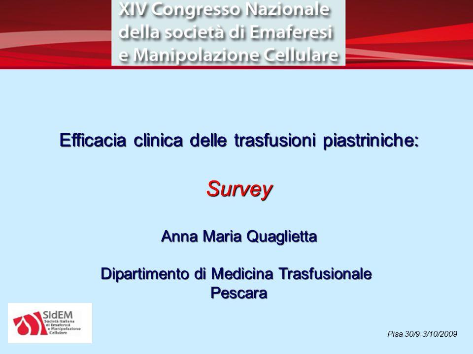 Survey Efficacia clinica delle trasfusioni piastriniche:
