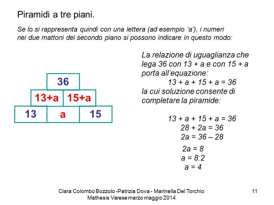 13 a 13+a 15 15+a 36 Piramidi a tre piani.