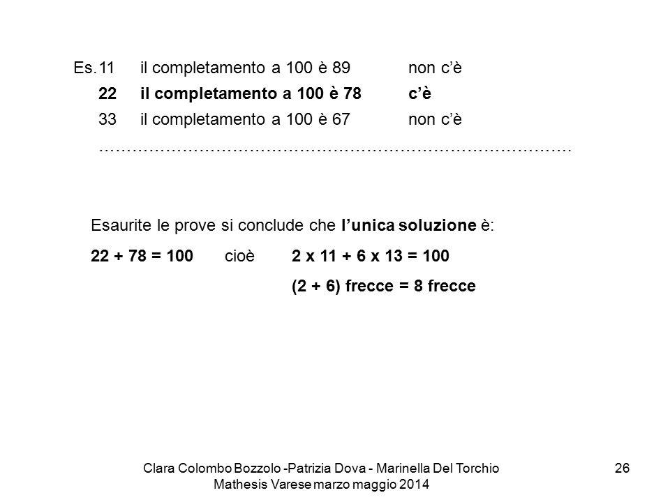 Es. 11 il completamento a 100 è 89 non c'è