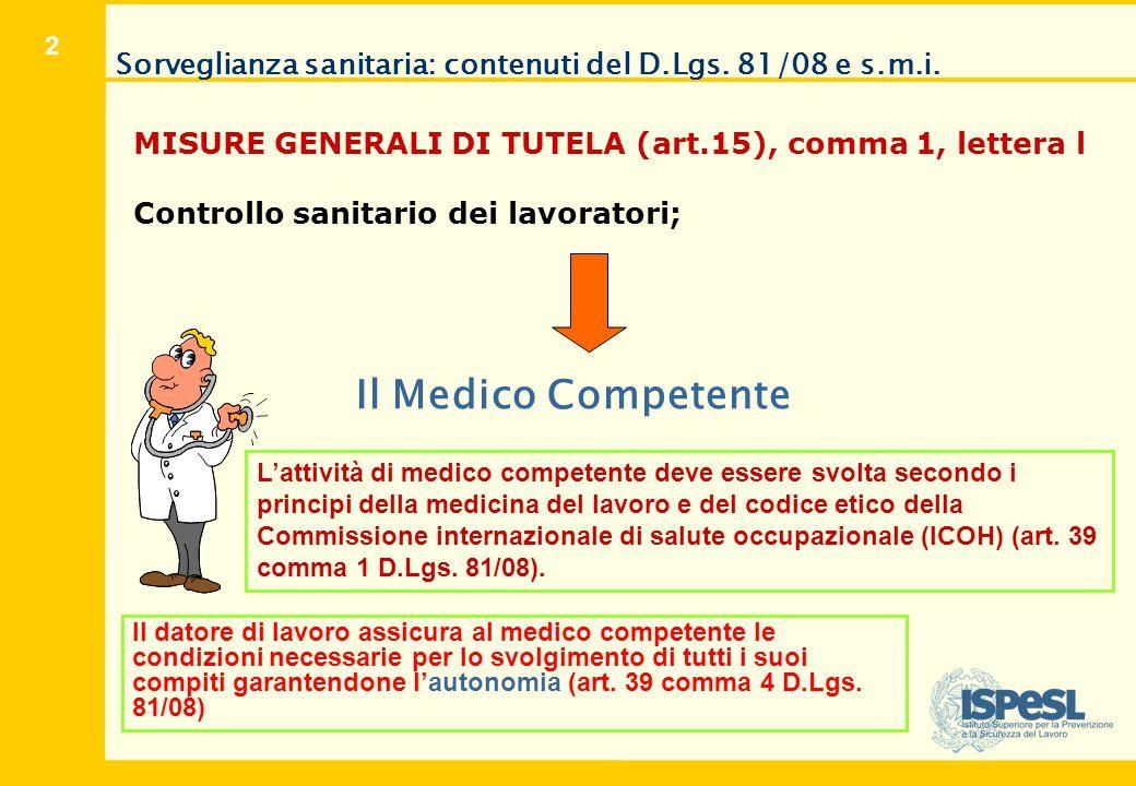 Il Medico Competente OBBLIGHI DEL MEDICO COMPETENTE ART. 25