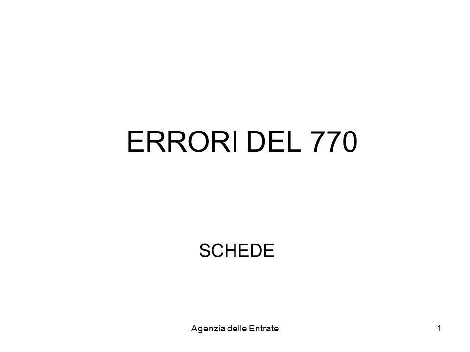 ERRORI DEL 770 SCHEDE Agenzia delle Entrate