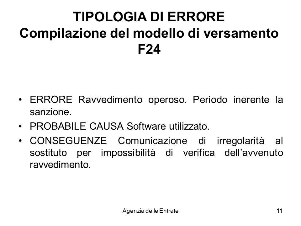 TIPOLOGIA DI ERRORE Compilazione del modello di versamento F24
