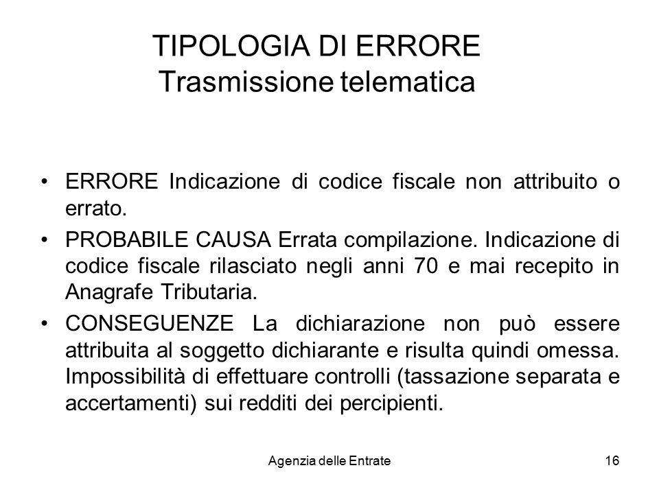 TIPOLOGIA DI ERRORE Trasmissione telematica