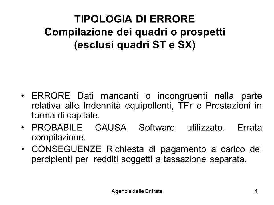 TIPOLOGIA DI ERRORE Compilazione dei quadri o prospetti (esclusi quadri ST e SX)