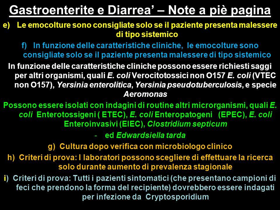 Gastroenterite e Diarrea' – Note a piè pagina interpretazione