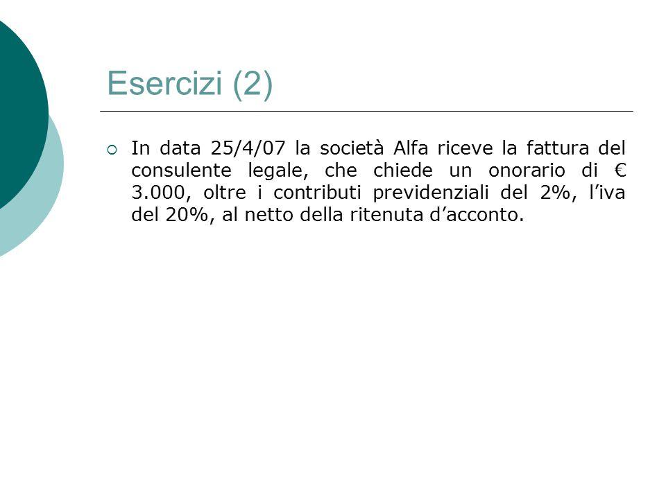 Esercizi (2)