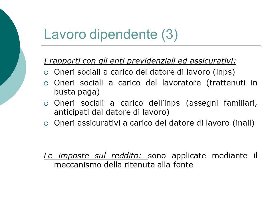 Lavoro dipendente (3) I rapporti con gli enti previdenziali ed assicurativi: Oneri sociali a carico del datore di lavoro (inps)