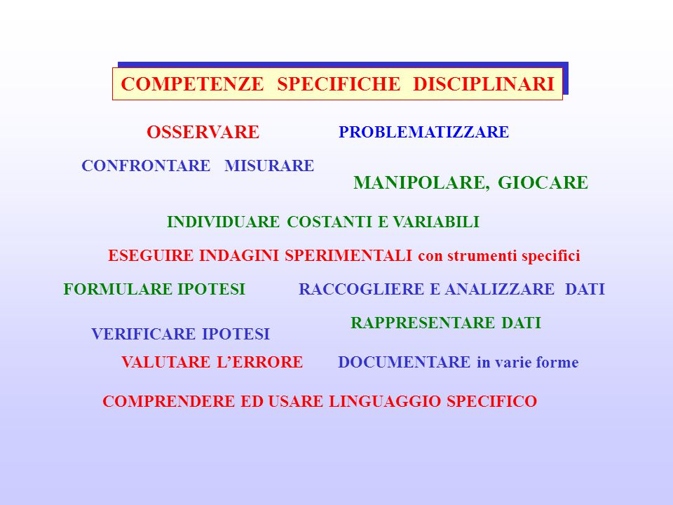 COMPETENZE SPECIFICHE DISCIPLINARI