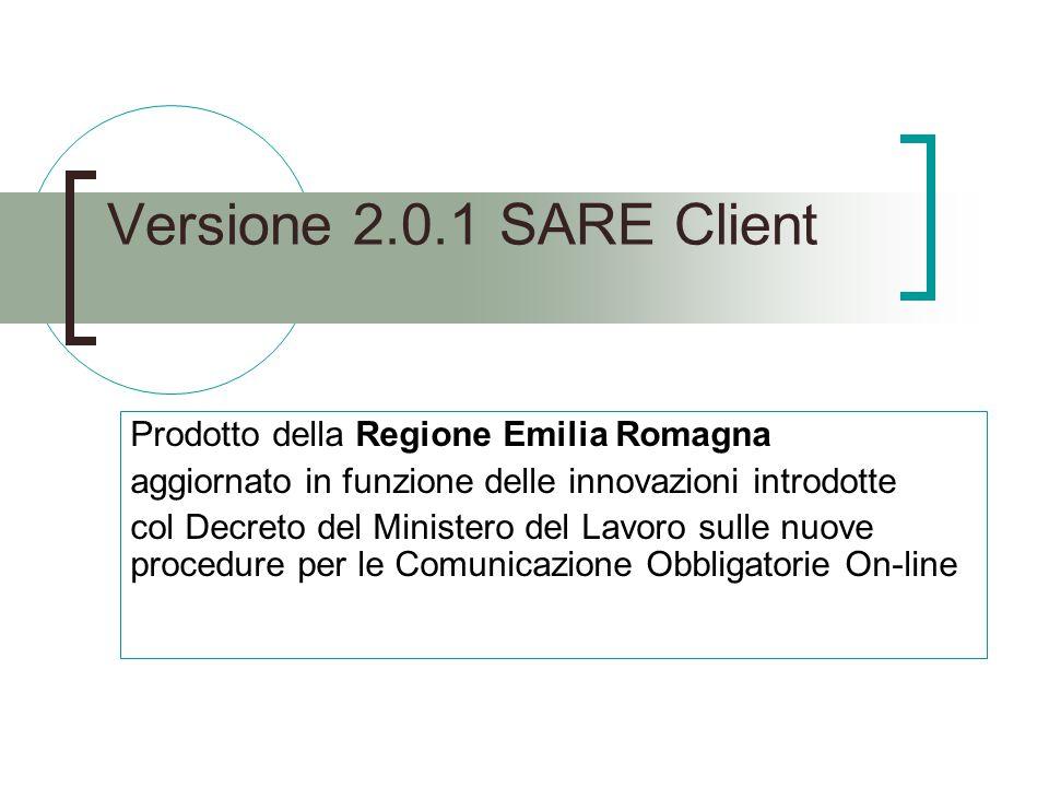 Versione 2.0.1 SARE Client Prodotto della Regione Emilia Romagna