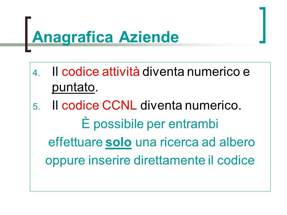 Anagrafica Aziende Il codice attività diventa numerico e puntato.