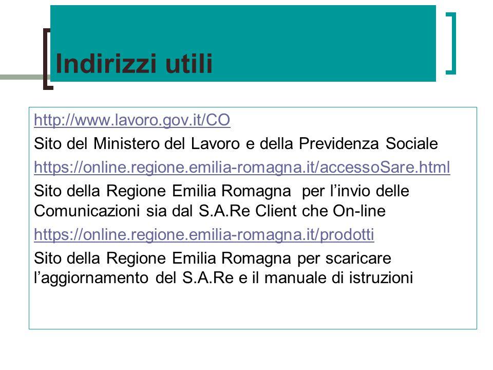 Indirizzi utili http://www.lavoro.gov.it/CO