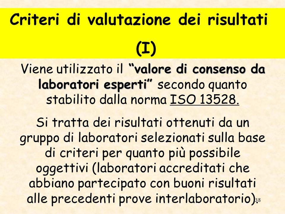 Criteri di valutazione dei risultati (I)